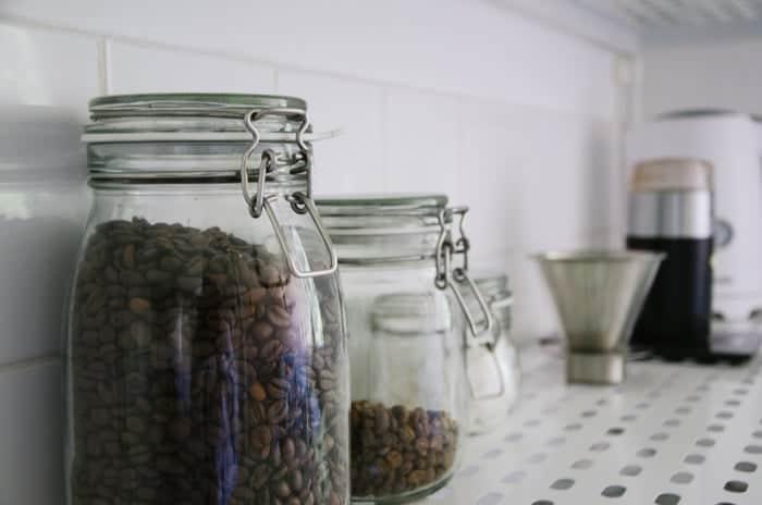 beans inside a glass