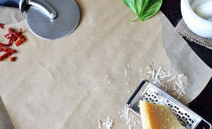 paper, cheese and cooking tools