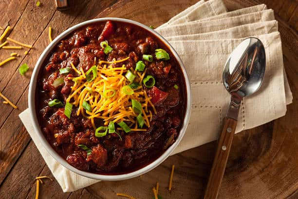 chili on the grill