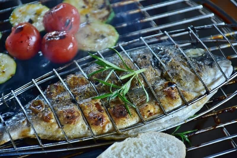 fish in the grill basket
